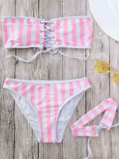 Lace Up Striped Strapless Bikini With Choker - Stripe M