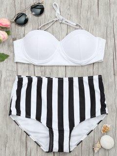 Striped Moulded Underwire High Waisted Bikini - Stripe L
