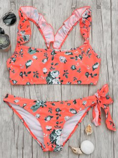 Ruffles Floral Bowknot Ruched Bikini - Floral M