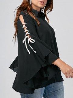 Plus Size Lace Up Sleeve Chiffon Shirt - Black 3xl