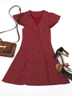 Button Up Polka Dot Mini Dress - Wine Red M