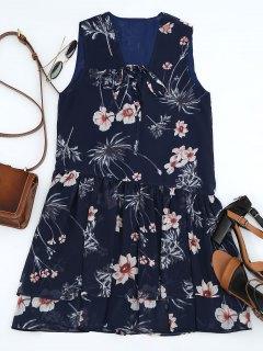 Floral Layered Lace Up Mini Dress - Purplish Blue S