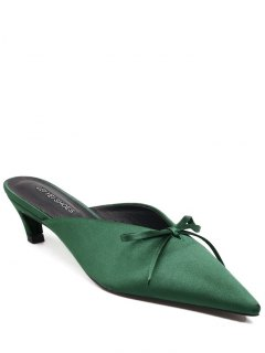 Pointed Toe Bow Satin Slippers - Green 37