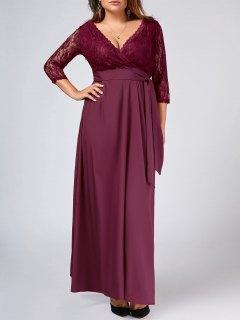 Lace Panel Belted Plus Size Prom Dress - Purplish Red 2xl