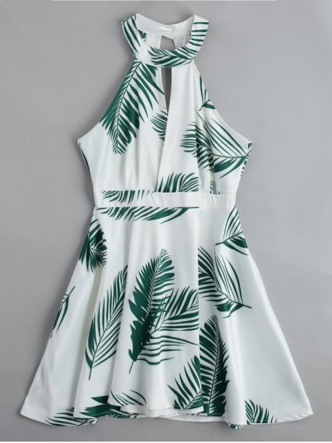 chic Cut Out Leaves Graphic Mini Dress - WHITE S Mobile