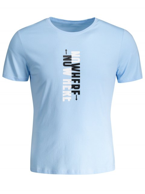 affordable Mens Crewneck Slogan Graphic Tee - LIGHT BLUE 3XL Mobile