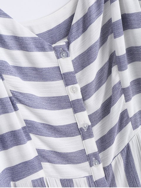 best Button Up Stripes Casual Dress - STRIPE S Mobile