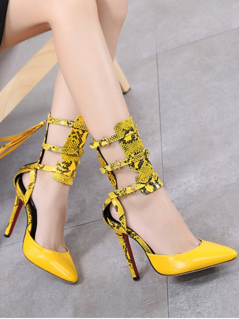 latest Buckle Straps Tassels Snake Print Pumps - YELLOW 37 Mobile
