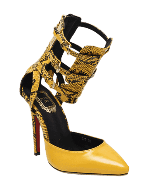 trendy Buckle Straps Tassels Snake Print Pumps - YELLOW 38 Mobile