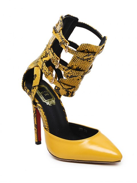 chic Buckle Straps Tassels Snake Print Pumps - YELLOW 39 Mobile