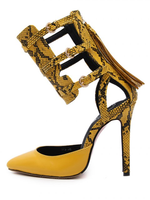 affordable Buckle Straps Tassels Snake Print Pumps - YELLOW 41 Mobile