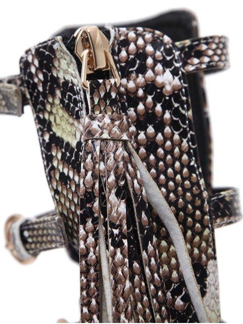 womens Buckle Straps Tassels Snake Print Pumps - PINK 41 Mobile