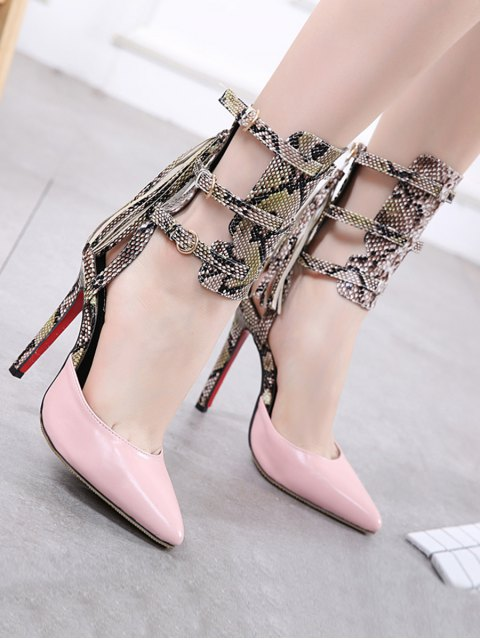 outfit Buckle Straps Tassels Snake Print Pumps - PINK 38 Mobile