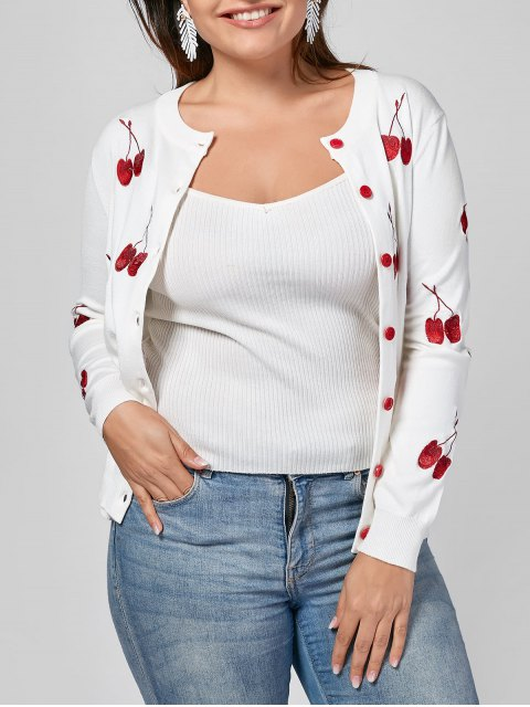 buy Cherry Embroidered Plus Size Cardigan - WHITE XL Mobile