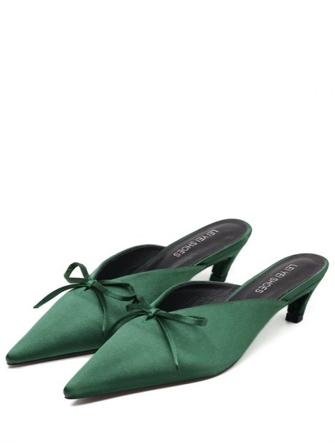 chic Pointed Toe Bow Satin Slippers - GREEN 39 Mobile