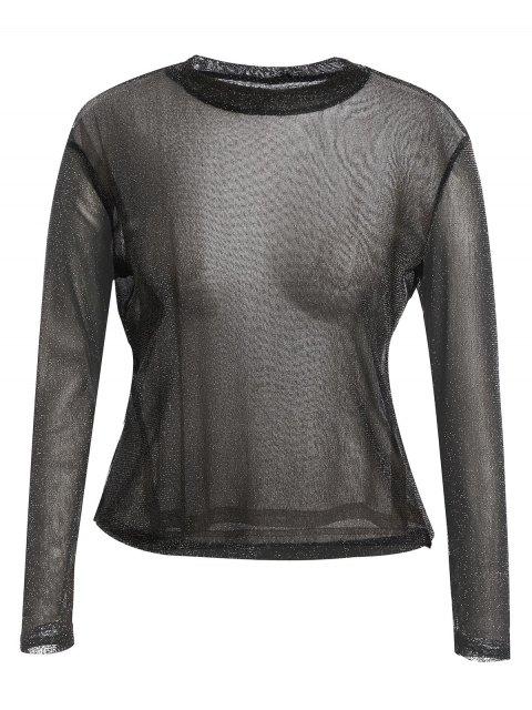 T-shirt à manches longues en dorure - Noir 4XL Mobile