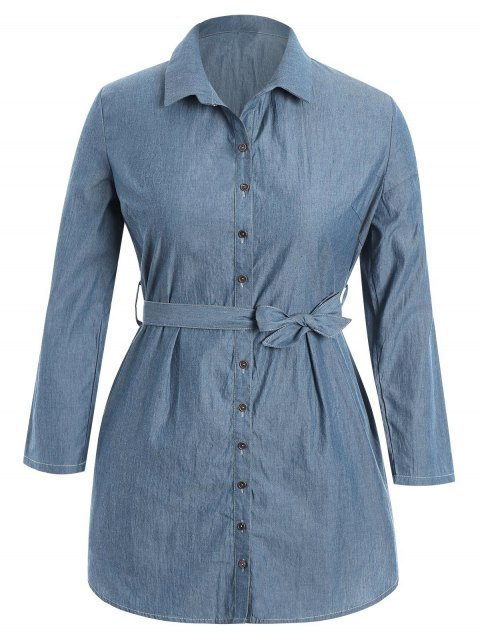 ladies Belted Plus Size Denim Shirt Dress - DENIM BLUE 2XL Mobile