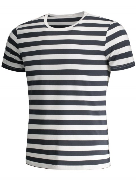 buy Mens Crewneck Striped Jersey Tee - GREY AND WHITE 3XL Mobile