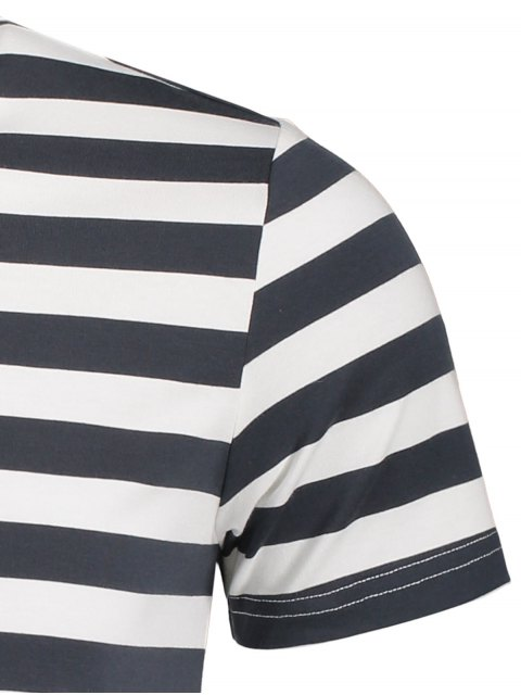 lady Mens Crewneck Striped Jersey Tee - GREY AND WHITE XL Mobile