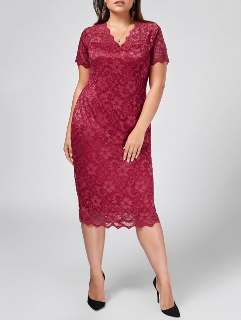 fancy Plus Size Scalloped Lace Bodycon Dress - ROSE RED 3XL Mobile