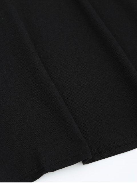 ladies Round Collar Long Sleeve Mini Dress - BLACK XL Mobile