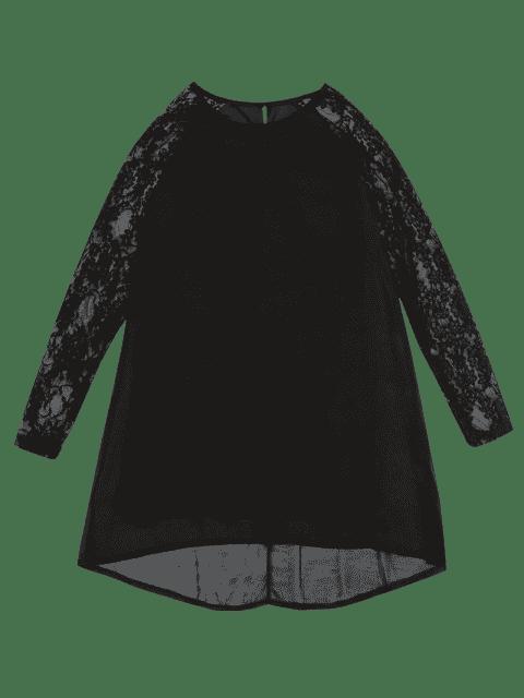 online Lace Panel Cut Out Shift Dress - BLACK L Mobile