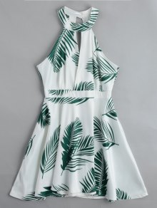 Cut Out Leaves Graphic Mini Dress - White M