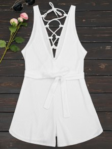 Plunging Neck Lace Up Belted Romper - White S