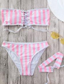 Lace Up Striped Strapless Bikini With Choker - Stripe S