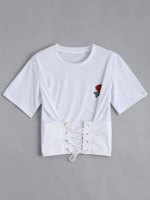 El Remiendo Floral Ata Para Arriba La Camiseta - Blanco S