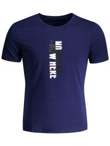 Mens Crewneck Slogan Graphic Tee - Deep Blue Xl