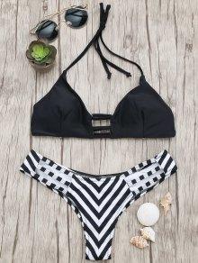 Buy High Cut Ladder Striped Bikini - BLACK L