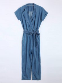 Belted Straight Denim Jumpsuit - Denim Blue S