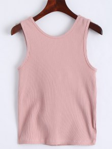 Twist Ribbed Cut Out Tank Top - Pink M