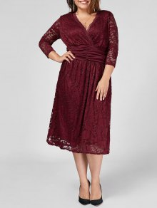 Plus Size Empire Waist Sheer Lace Dress - Wine Red 2xl