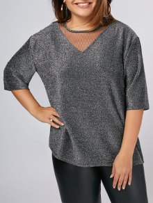 Plus Size Shiny Voile Panel Top - Silver Xl