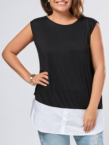Plus Size Sleeveless Two Tone Slit Top - Black 3xl