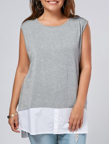 Side Slit Plus Size Two Tone Top - Gray Xl