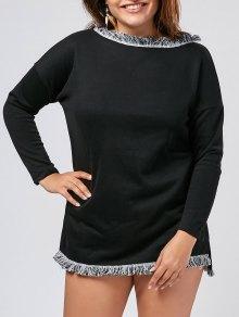 Plus Size Fringed Sweater Dress - Black 2xl