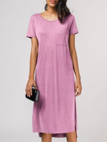 Side Slit Short Sleeve Pocket Tee Dress - Pink Xl