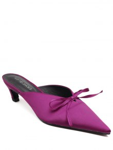 Pointed Toe Bow Satin Slippers - Rose Red 39