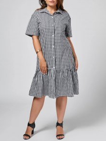 Plus Size Checked Ruffles Shirt Dress - Checked Xl