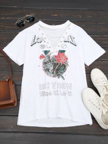 Floral Print Lace Up Tee - White M