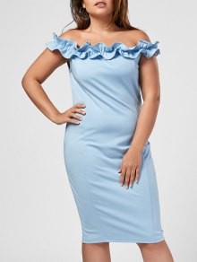 Ruffles Plus Size Off Shoulder Dress - Light Blue 3xl