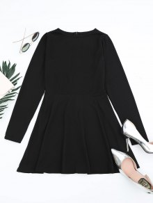 Round Collar Long Sleeve Mini Dress - Black Xl