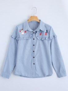 Button Up Printed Ruffle Hem Shirt - Light Blue L
