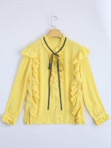 Ruffle Hem Button Up Blouse - Yellow S