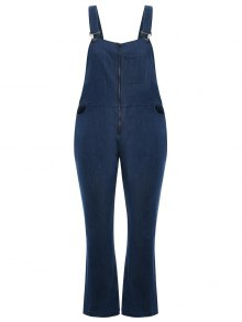 Plus Size Front Zipper Denim Overalls - Denim Blue 2xl