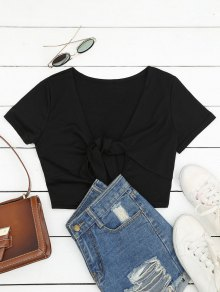 Plunging Neck Cut Out Crop Tee - Black S