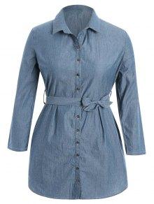 Belted Plus Size Denim Shirt Dress - Denim Blue Xl